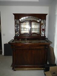 Home Solid Wood Bar With Foot Rails