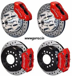 Wilwood Disc Brake Kit1965-1968 Chevy Impala11 Drilled Rotorsred Calipers