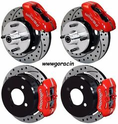WILWOOD DISC BRAKE KIT,63-66 FORD,MERCURY,6 CYL,4-LUG,DRILLED ROTORS,RED,Mustang