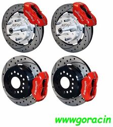 Wilwood Disc Brake Kit,complete,1964-72 Chevelle,red Calipers,12 Drilled Rotors