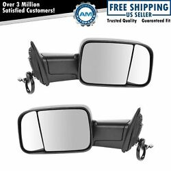 Towing Mirror Power Heated Signal Puddle Pair Set For 13-18 Ram 1500 2500 3500