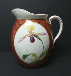 Minton English China Large Pitcher Hand Decorated With Orchid C. 1872