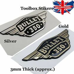 Pair Toolbox Sticker Enfield Bullet 350cc Embossed 3d Gold Silver Motorbike Two
