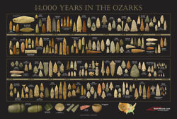 Arrowhead Timeline Poster - 14000 Years In The Ozarks - Indian Artifacts