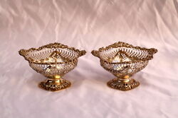 Magnificent Pair Of 1914 English Sterling Silver Footed Repose Dishes