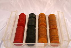 Magnificent French Art Deco 194 Pieces Of Backelite Poker Chips In The Box