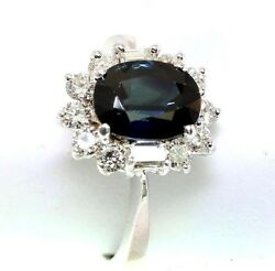 Blue Sapphire And Diamond 2.73 Tcw 18k White Gold Ring Size 5.75