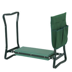 Foldable Kneeler Garden Kneeling Bench Stool Soft Cushion Seat Pad And Tool Pouch