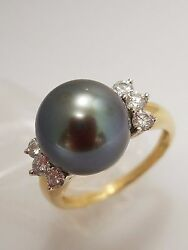 Vintage 18k Yellow Gold Pearl Ring With Diamonds Size 8.5