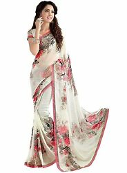 Red & White Floral Printed Bollywood Saree Party Wear Ethnic Designer Sari