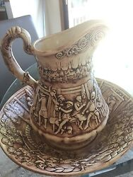 December '68 Antique Pitcher And Bowl Set With Creamer And Sugar Container