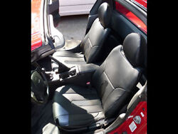 HONDA DEL SOL 1993 1997 BLACK S.LEATHER CUSTOM FIT FRONT SEAT COVERS $149.00