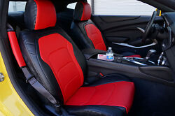 CHEVY CAMARO 2016 BLACK RED IGGEE S.LEATHER CUSTOM FIT FRONT SEAT COVER $180.00