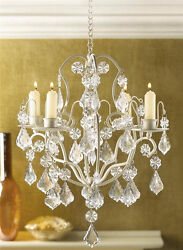 Ivory Baroque Hanging Acrylic Crystal Chandelier Candle Holder Light Wedding