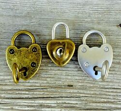 1 Padlock and key! Works! Heart Shaped antique silver Bronze Pendant Lock w Key