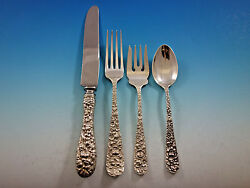 Rose By Stieff Sterling Silver Flatware Set Service 24 Pieces Repousse