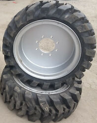 2- Tires With Wheels Solid 33x12-20 / 12-16.5 Skid-steer Loader Tire 331220