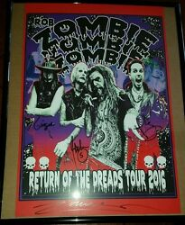 Rob Zombie Signed 16' Tour Poster W/proof + Free Zombie Tour Shirt And Free Bag