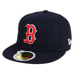 New Era 5950 Youth Boston Red Sox GAME Fitted Hat (Navy Blue) MLB Kid's Cap