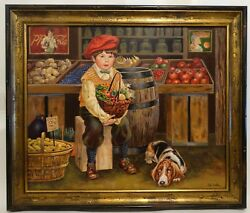 Grocery Shopping Delivery Boy with Dog by Lee Dubin Original Framed Oil Painting
