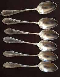 Set Of 6 Silverplate 18 Spoons In Box Flatware