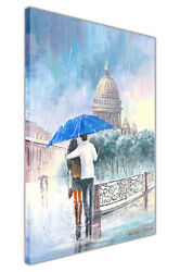 Couple With Umbrella On Bridge Framed Canvas Prints Wall Pictures