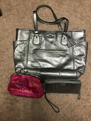 Coach Mickie Leather Tote Gunmetal Silver Bag wallet and coin purse set $200.00