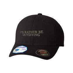Flexfit Hats For Men And Women Iand039d Rather Be Skydiving Style A Embroidery