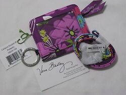 Vera Bradley Flutterby Campus Double Id And Lanyard Case Coin Keys Set Case Nwt