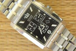 Nice Old Stock Demo Citizen Stainless Steel Black Dial Chronograph Watch Box Set