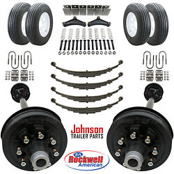 Tandem 7,000 Lb Electric Brake Trailer Axle Kit With Wheels And Tires 14k Cap.