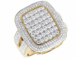 Men's 10k Yellow Gold Genuine Diamond 3d Iced Square Cluster Ring 2 1/3 Ct 23mm