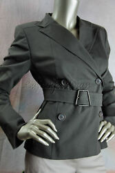 2990 New With Tag Akris Olive Gray Cypress Cotton Payerne Belt Jacket 38 8