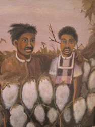 Antique African American Folk Art Southern Scene Art Painting Brothers Friends