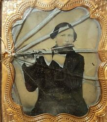 Antique Early American Fine Ma Flute Musician Artistic Ambrotype Photo Young Man