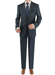 Luciano Natazzi Italian Mens Suit 180s Cashmere Wool Ticket Pocket