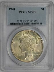 1928 1 Silver Peace Dollar Pcgs Ms63 /t-472
