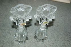 Antique Vintage Czech Set Of 2 Perfume Bottles - Intaglio Stoppers Stunning
