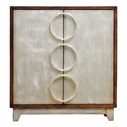 Mid Century Modern Slim Silver Accent Chest | Circles Rings Shelves Retro