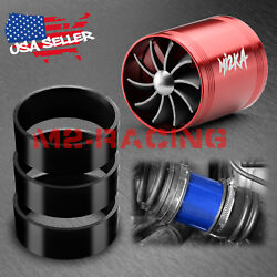 Mi2KA Turbine Air Intake Fuel Gas Saver Double Fan System Turbo 2.5quot; 3.0quot; Red $12.88