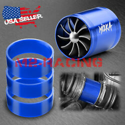 Mi2KA Turbine Air Intake Fuel Gas Saver Double Fan System Turbo 2.5quot; 3.0quot; Blue $12.88