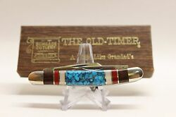 Schrade Cutlery Old-timer 1080t David Yellowhorse With Turquoise Handle In Box