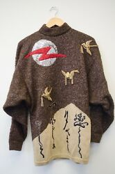 1980and039s Rare Retro Embroidered Kansai Yamaoto Embroidered Sweater Turtle Neck