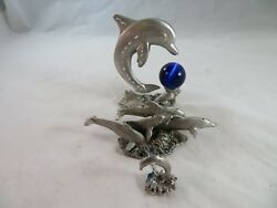 Vintage Pewter Figurines Spoontiques And Comstock Pewter Dolphins 3 Pack