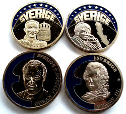 Sweden 4 Coloured Europe-ecu 1997-98 Proof Medals 40mm 33g Gold Plated Copper B8