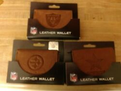 Nfl Tan Tri-fold Leather Wallet Pick Your Team