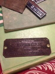 Brass Electric Motor General Electric Co Repulsion Induction Motor Early Plate R