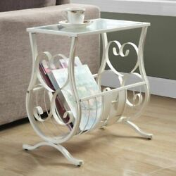 White Metal Tempered Glass Top Accent Table Magazine Rack End Bed Side Scroll