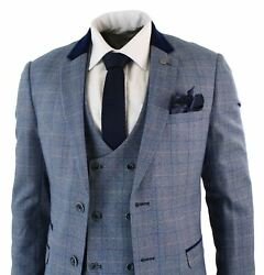Mens Blue Check Marc Darcy 3 Piece Suit Double Breasted Waistcoat Elbow Patch