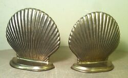 Vintage Solid Brass Seashell Clam Shell Book Ends Heavy Nice Quality Bookends